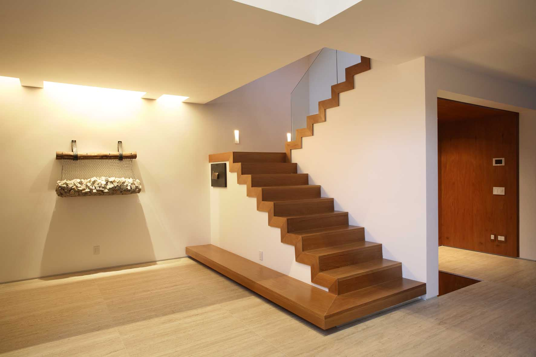 Wooden Staircase With Plaster Walls